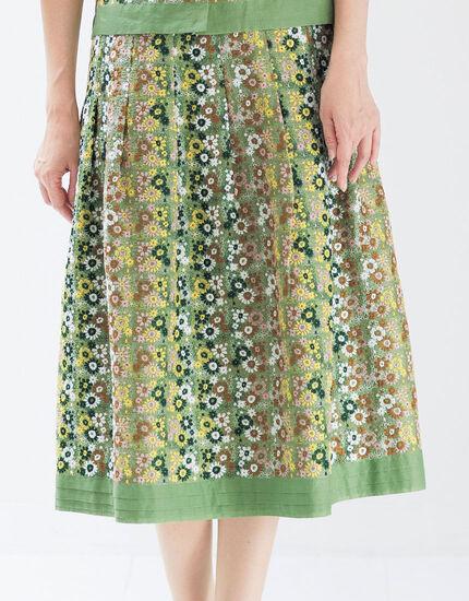 スクエア小花 刺しゅうスカート, , main
