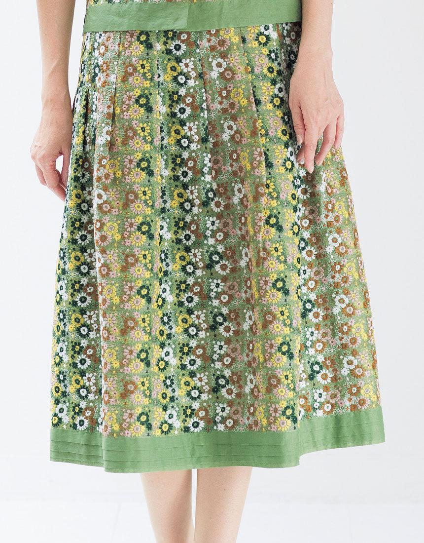 スクエア小花 刺しゅうスカート, , hi-res