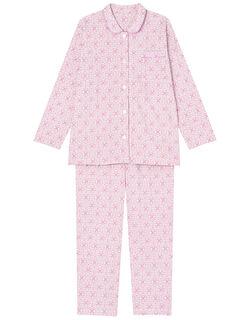 【綿100%】オーナメントフラワー柄 パジャマ