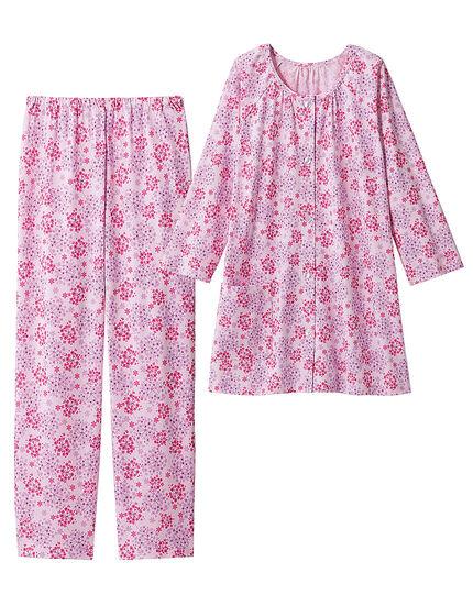 綿100%の小花柄パジャマ, , main