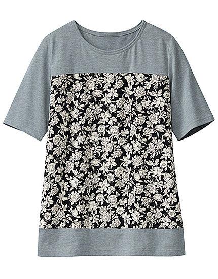 プリント切替Tシャツ, , main