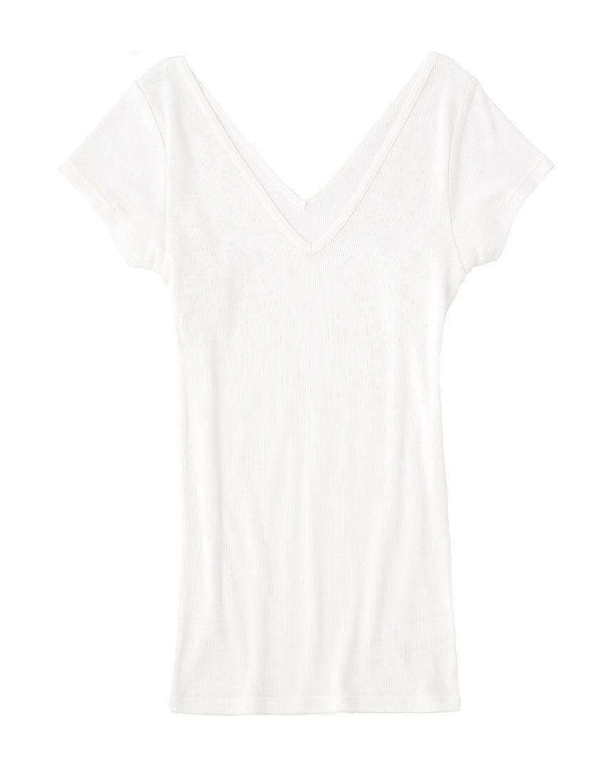 オーガニックコットンリブキャップスリーブ 半袖シャツ
