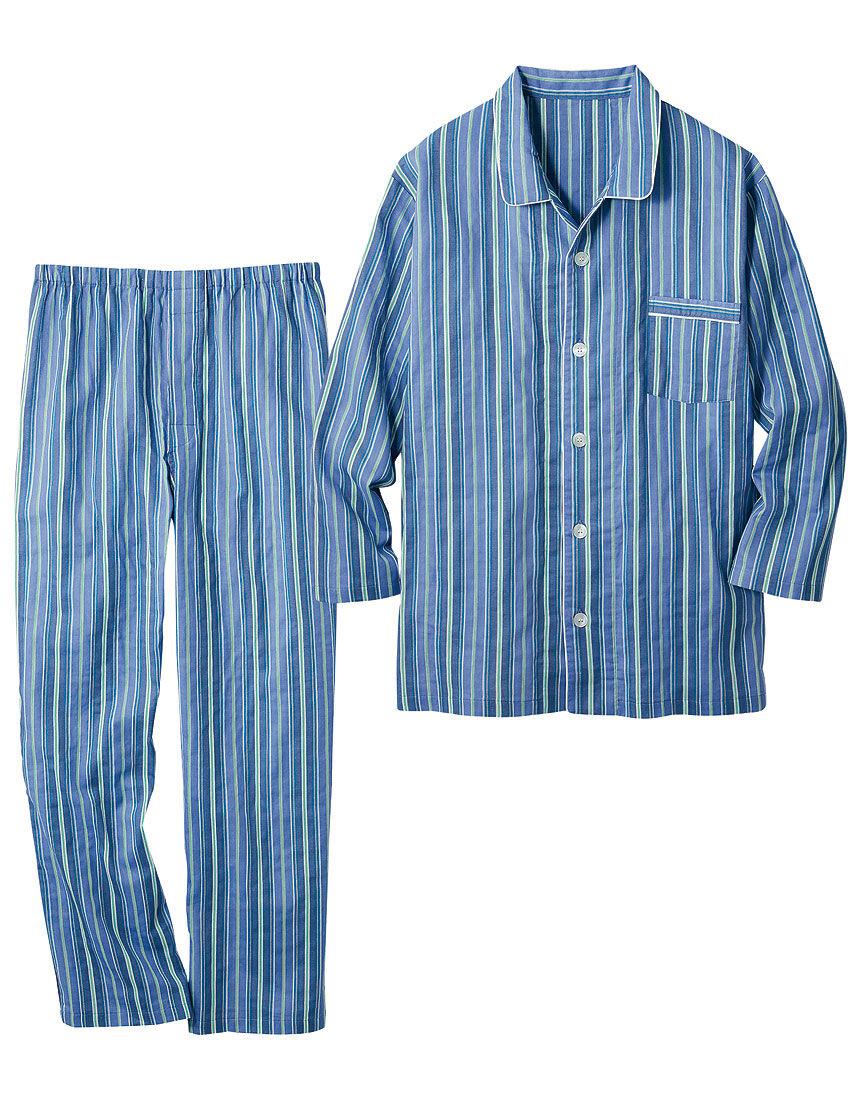 二重ガーゼのストライプパジャマ(男性用)