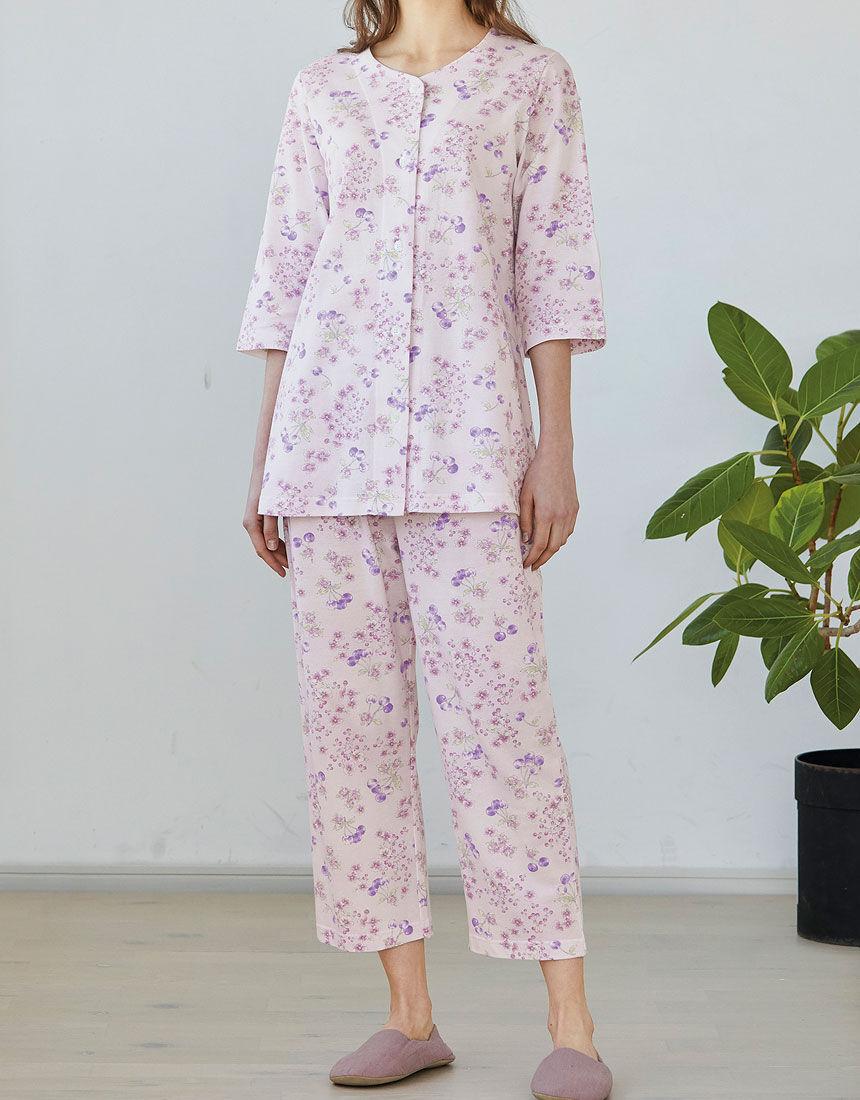 綿100%の花柄パジャマ, , hi-res