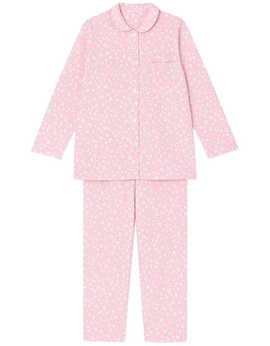 【肌側綿100%】【あったか】プチフラワー柄 パジャマ