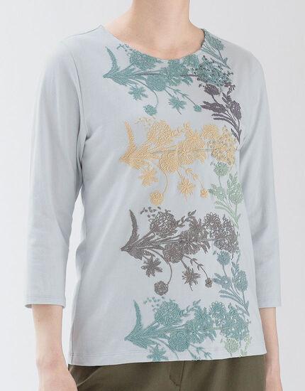 カットグラスフラワー 七分袖Tシャツ, , main