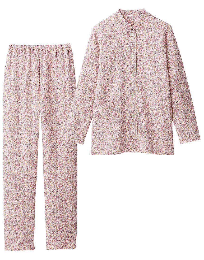 【吸湿発熱】 ニットキルトのスタンドカラーパジャマ