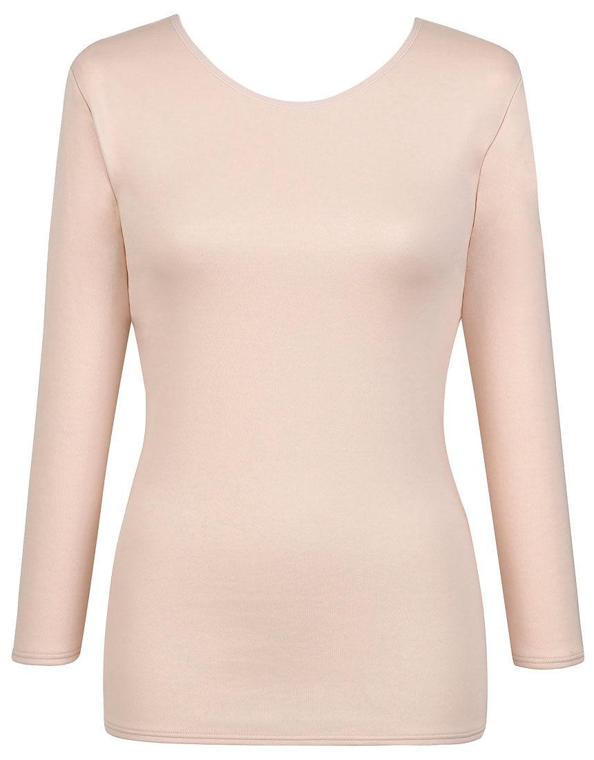 【エアロカプセル】 肌側は綿のここちよさ(ネックせまめ) トップス(8分袖)