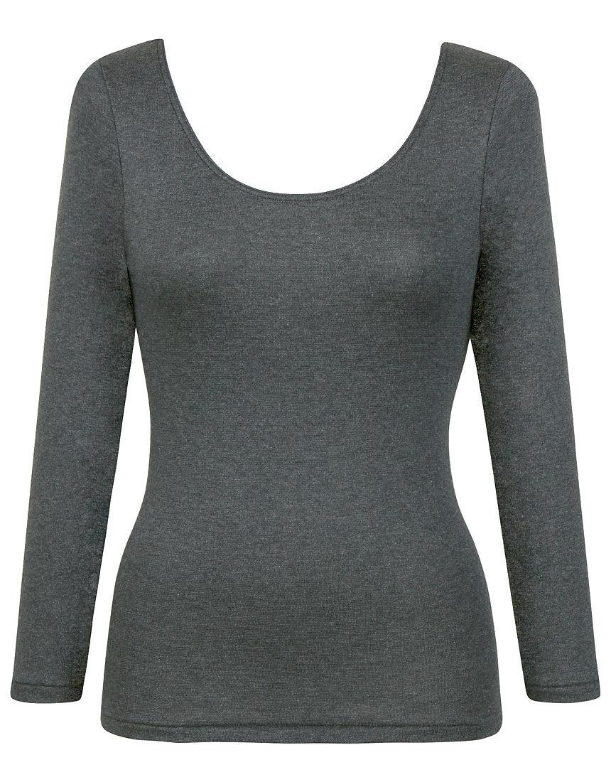よく伸びて、裏起毛であたたかい【ラクのびサーモ】(保温性5暖) トップス(8分袖)