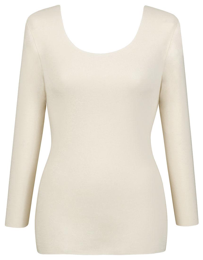 集中保温であたたかい【綿の贅沢ここちフラット集中保温】(保温性5暖) トップス(8分袖)