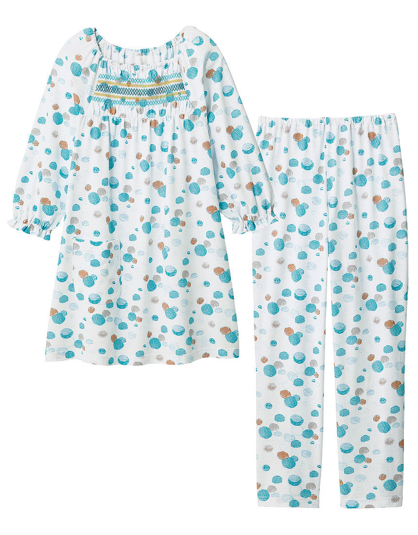 刺しゅうデザイン水玉柄パジャマ