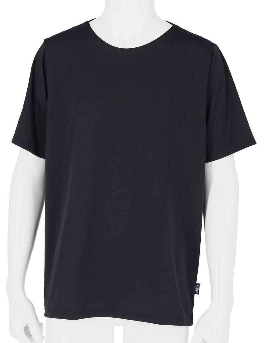 メンズシャツ(丸首3分袖), , hi-res