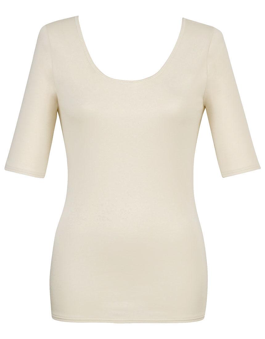 綿100%、洗濯してもやわらかさつづく 【綿の贅沢リッチ】 トップス(5分袖)