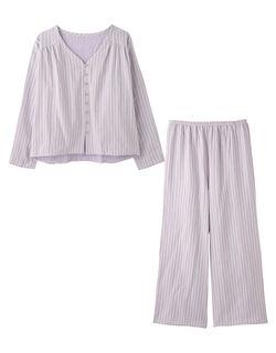 【コットン100%のダブルガーゼ。ふんわり柔らか、快適な着心地のセットアップ】ダブルガーゼボタン パジャマ