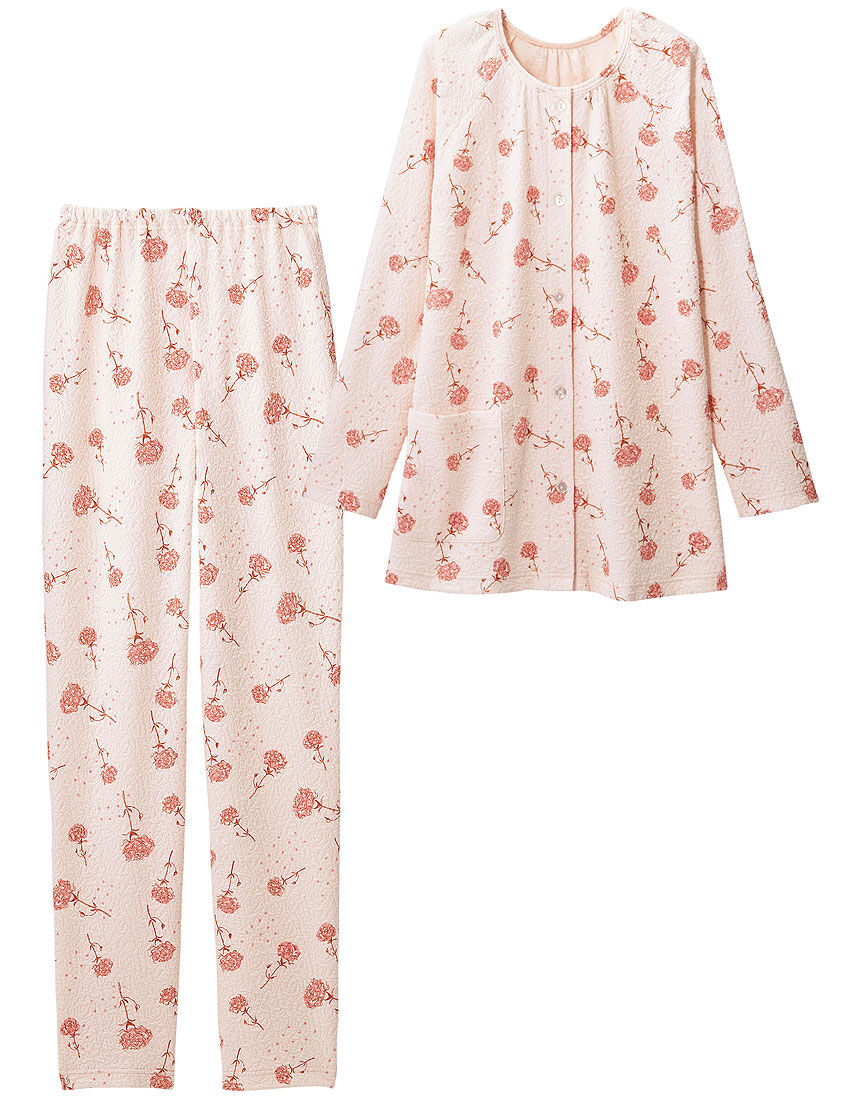 ふくれジャカード花柄パジャマ, , hi-res