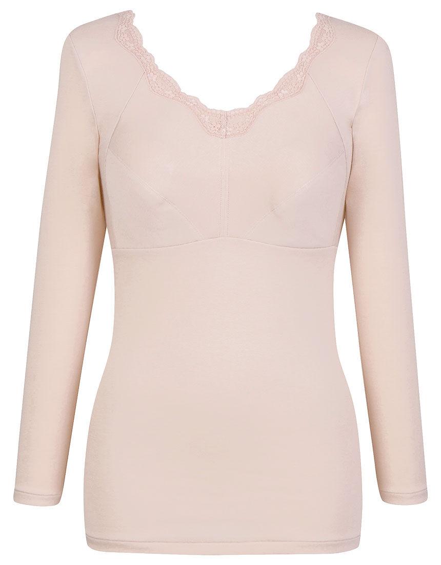 肌側オーガニックコットン100%(身生地部) 【綿の贅沢オーガニック】(8分袖) カップ付きインナー