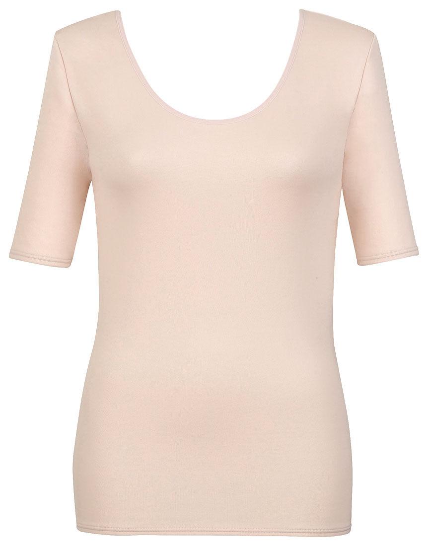 【エアロカプセル】 肌側は綿のここちよさ トップス(5分袖)