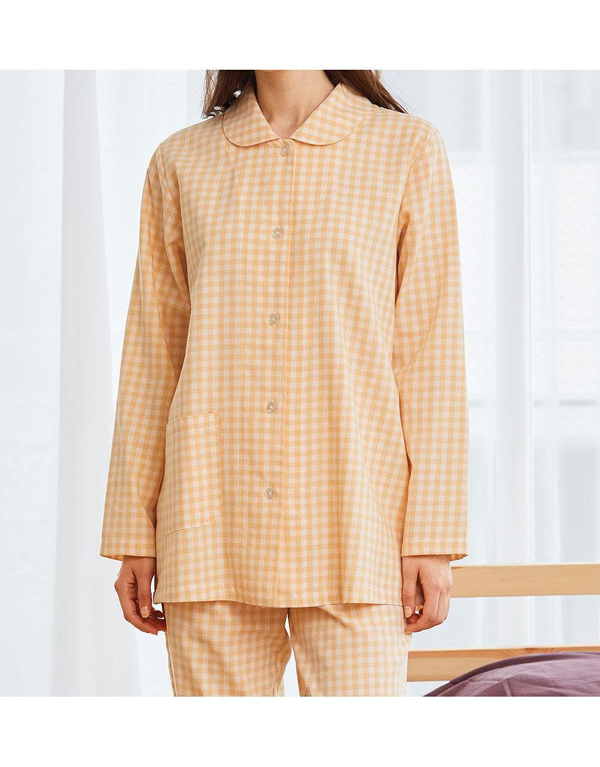 綿100%のチェック柄パジャマ, , hi-res