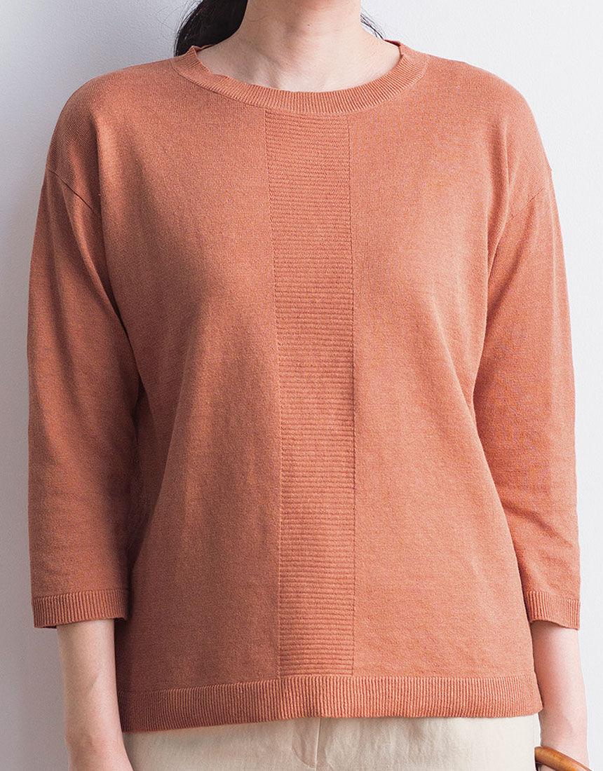 麻混デザインセーター