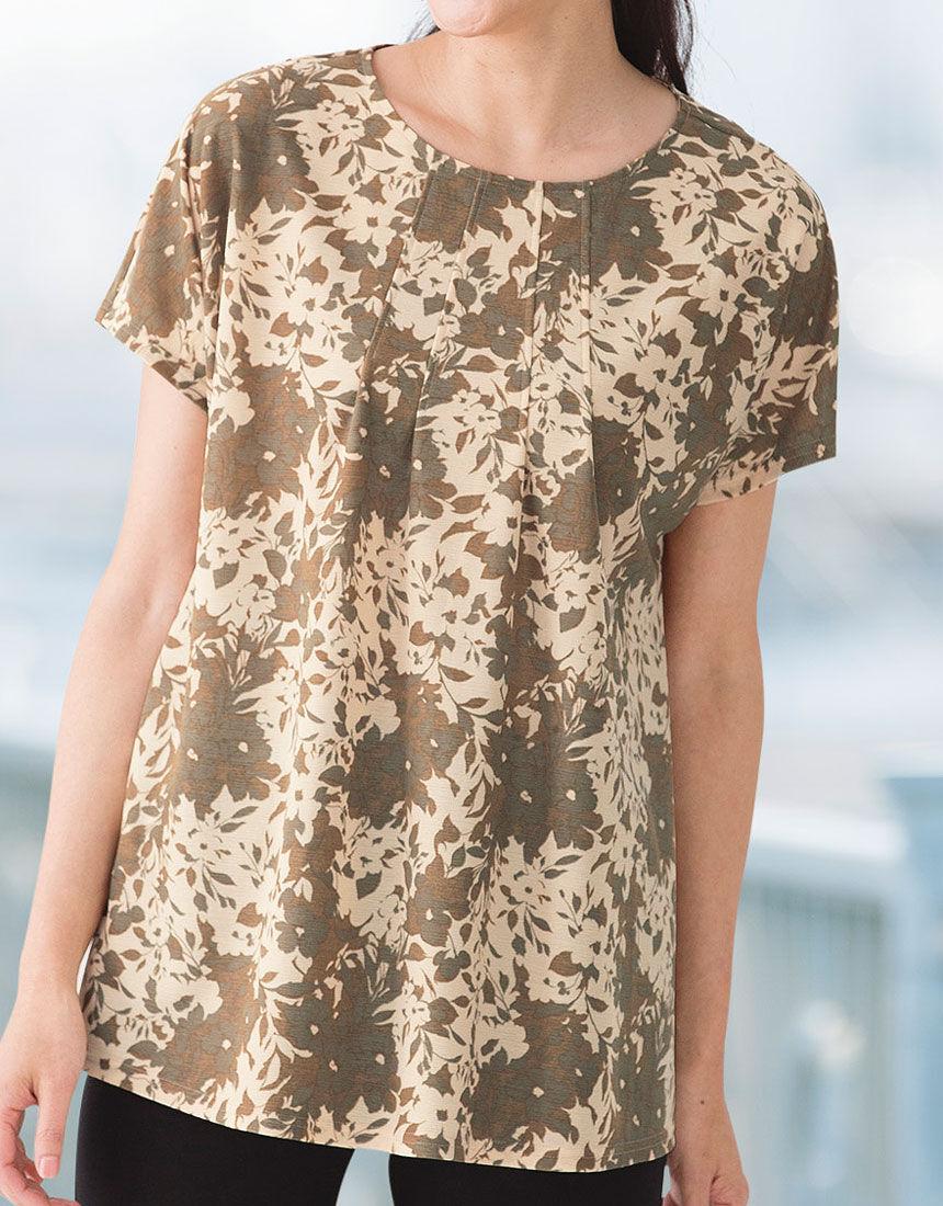 花柄プリントロングTシャツ, , hi-res