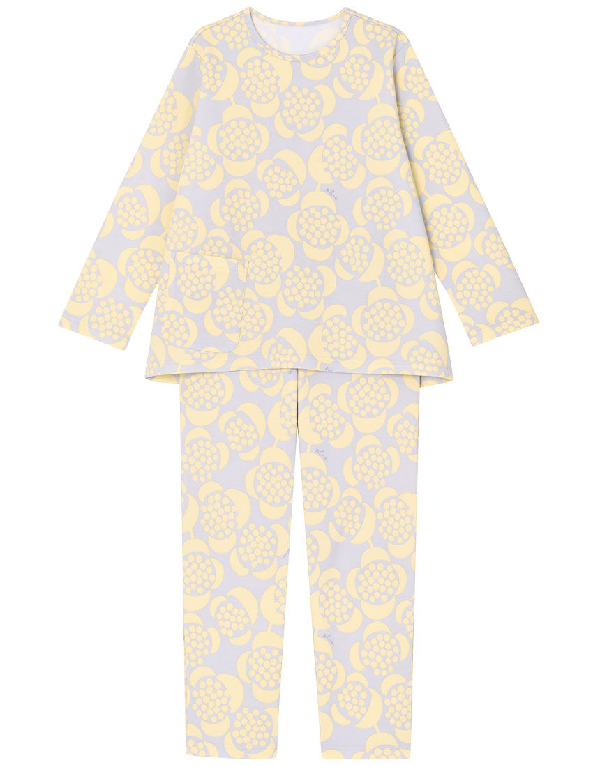 【肌側綿100%】【あったか】つぶつぶお花柄 パジャマ