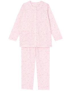 【肌側綿100%】ホワイトフラワー柄 パジャマ