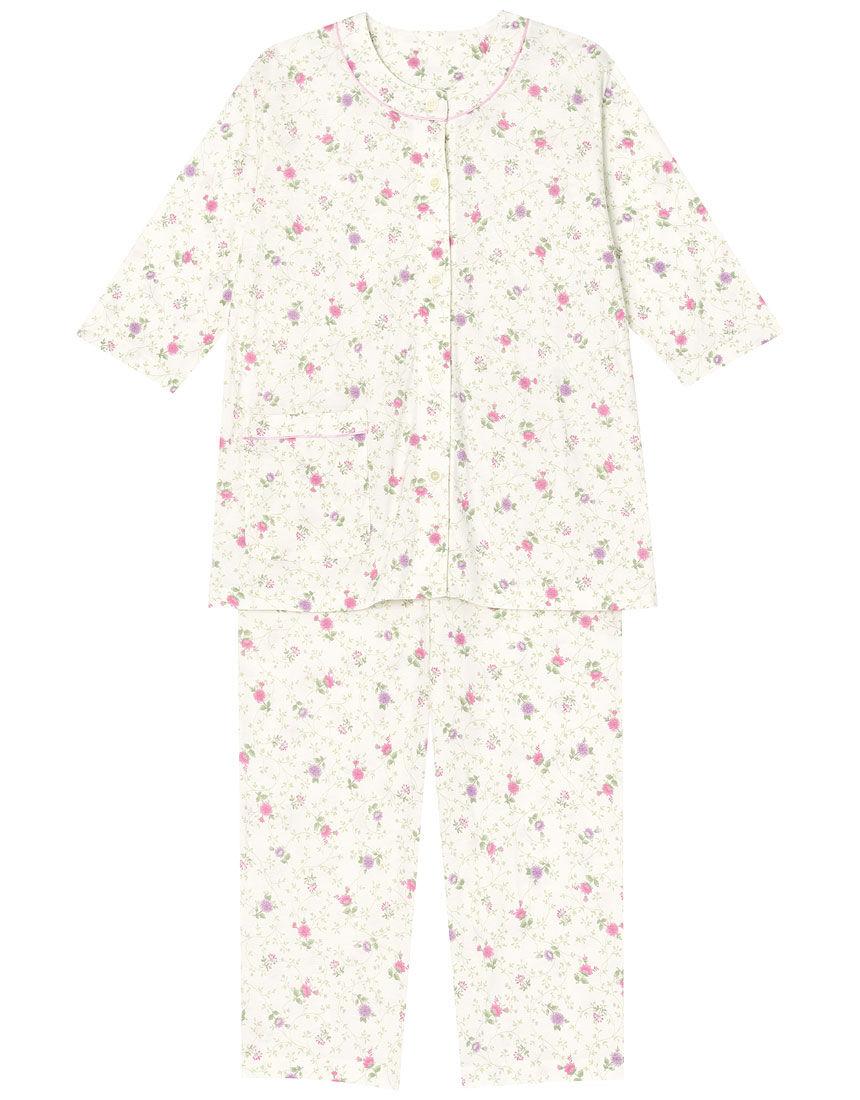 【接触冷感】花紋様柄 パジャマ