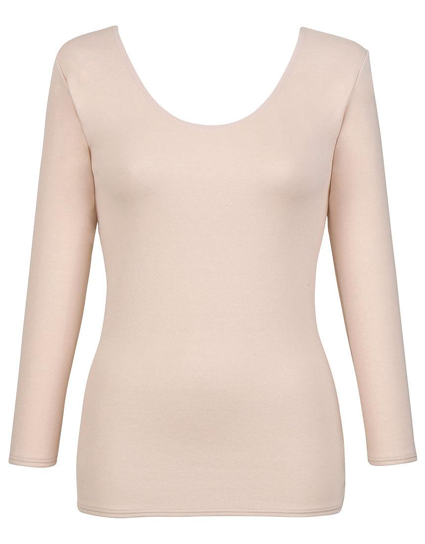 【エアロカプセル】 肌側は綿のここちよさ トップス(8分袖)