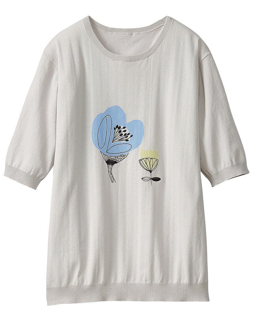 インターシャ刺しゅうセーター, , hi-res