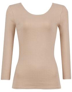 【綿100% 極暖】 厚手生地でしっかり暖かく、やわらかな着ごこち トップス(8分袖)