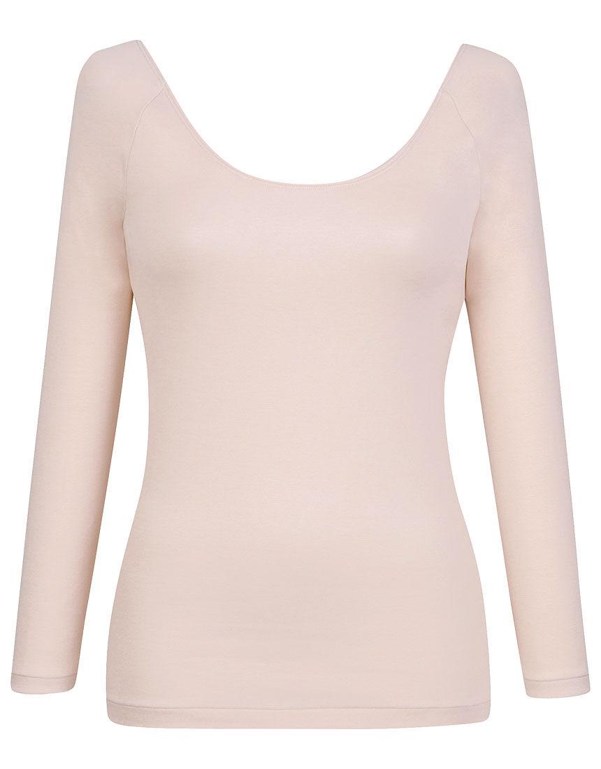 肌側オーガニックコットン100% 【綿の贅沢オーガニック】(ネックひろめ) トップス(9分袖)