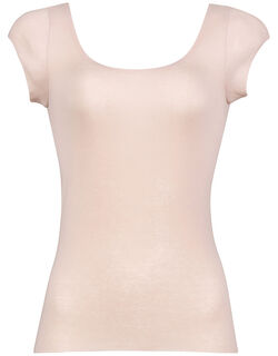 綿混&肌あたりのやさしい 汗取りパッド付 トップ(フレンチ袖)