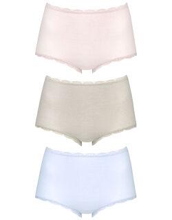 おトクな3枚セット(はきこみ丈深め)〜お腹すっぽり/肌側綿100% ショーツ
