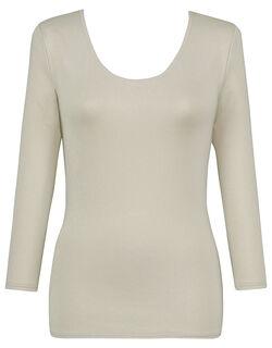 【エアロカプセル】 肌側は綿のここちよさ (Uネック) 8分袖
