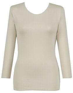 【エアロカプセル】 肌側は綿のここちよさ (ネックせまめ) 8分袖