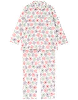 【肌側綿100%】パステルデイジー柄 パジャマ