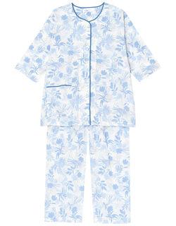 【綿100%】サマーリーフ柄 パジャマ