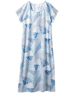 高島楊柳袖付きワンピース