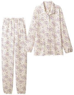 【あったか】 ニットキルトの花柄パジャマ