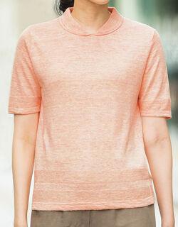 【麻100%】 麻襟付デザインセーター
