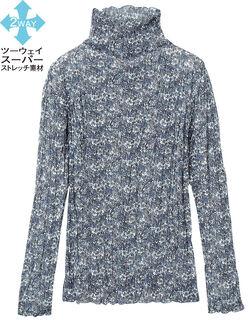 【定番】 小花プリントプリーツトップス