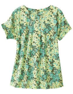 花柄プリントロングTシャツ