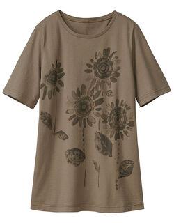 ひまわりプリントTシャツ