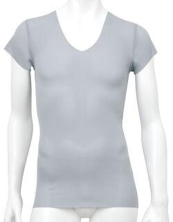 アウターにラインが出にくい◎ 深V首半袖シャツ