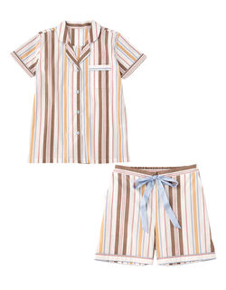 【薄手でさらっと心地よいコットンローン。トップスは前開きタイプ】コットンローン半袖シャツ パジャマ