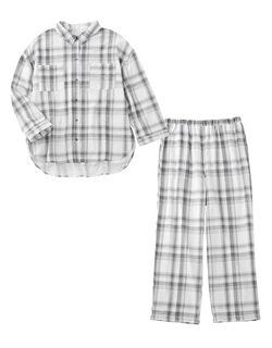 【ふわっと柔らか、通気性・吸水性が高く快適。ビッグシルエットで体型カバー】ダブルガーゼビッグシャツ パジャマ
