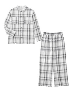 【ふわっと柔らか、通気性・吸水性が高く快適なコットンダブルガーゼ】ダブルガーゼシャツ メンズパジャマ
