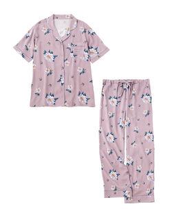 【動きやすくおしゃれなプリント柄】プリンテッドリラックスシャツ パジャマ