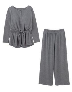 【ナイトブラ付き!やわらかいコットン混のワッフル素材】一気に着られる! パジャマ