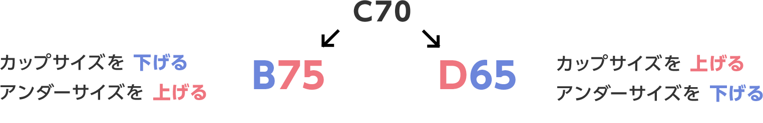 カップサイズを 下げる アンダーサイズを 上げる B75 ← C70 → D65 カップサイズを 上げる アンダーサイズを 下げる